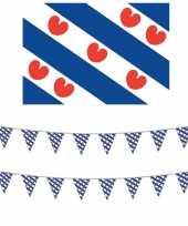 Friesland versiering set met vlag 2 vlaggenlijnen