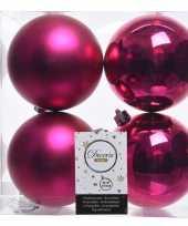 Fuchsia roze kerstversiering kerstballen 8x kunststof 10 cm