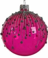 Fuchsia roze kerstversiering transparante kerstballen 8cm glas 10104724