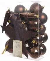 Glamour christmas kerstboom versiering set bruin 33 delig
