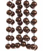 Glamour christmas kerstversiering sterren grove kralen ketting bruin 270 cm