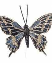 Goud blauwe vlinder kerstversiering steker versiering 6 cm