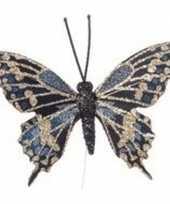 Goud blauwe vlinder steker versiering 6 cm