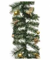 Groene kerst dennenslinger guirlande met gouden versiering 180 c