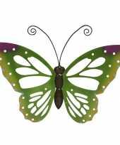 Grote groene vlinders muurvlinders 51 x 38 cm cm tuinversiering