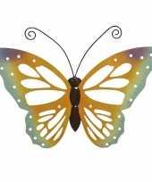 Grote oranje gele vlinders muurvlinders 51 x 38 cm cm tuinversiering