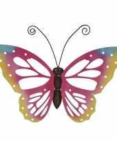 Grote roze vlinders muurvlinders 51 x 38 cm cm tuinversiering