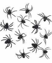 Halloween 24 zwarte versiering spinnetjes 8 cm