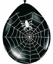 Halloween zwarte ballonnen met spinnenweb 8 stuks halloween versiering
