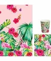 Hawaii thema tafelversiering set bekers servetten tafelkleed