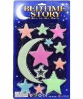 Heelal versiering glow in the dark sterren maan 12 stuks
