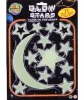Heelal versiering glow in the dark sterren maan 13 stuks