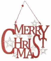 Houten kersthangers hangversiering bordje merry christmas rood 35 cm