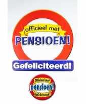 Huldebord pensioen gefeliciteerd verkeersbord met xxl button feestversiering