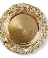 Kaarsenbord plateau goud versieringve rand 33 cm rond