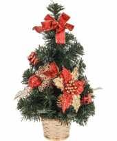 Kantoor kerstboompje rode versiering 40 cm