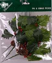 Kerst hulstblaadje versiering 17 cm