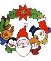 Kerst raamstickers raamversiering kerstkrans plaatjes 30 cm