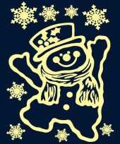 Kerst raamstickers raamversiering sneeuwpop plaatjes 29 5 x 40 cm