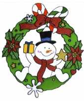 Kerst raamstickers raamversiering sneeuwpop plaatjes 30 cm