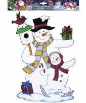 Kerst raamstickers raamversiering sneeuwpop plaatjes 40 cm