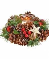 Kerst tafelversiering kerststukje krans met windlichtje 17 cm