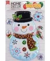 Kerst versiering 3d raamstickers sneeuwpop 28 x 41 cm