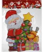 Kerst versiering raamstickers 3d kerstman kerstboom 25 x 34 cm