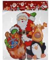 Kerst versiering raamstickers 3d kerstman pinguin 25 x 34 cm