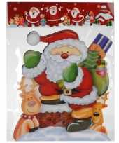 Kerst versiering raamstickers 3d kerstman rendieren 25 x 34 cm