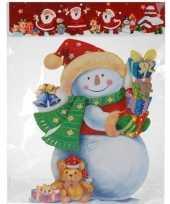 Kerst versiering raamstickers 3d sneeuwpop 25 x 34 cm