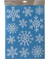 Kerst versiering raamstickers glitter sneeuwvlokken 30 x 40 cm