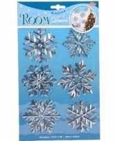 Kerst versiering raamstickers zilveren sneeuwvlokken type 1