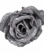 Kerst versiering roos zilver glitter 9 cm