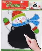 Kerst versiering sneeuwpop krijtbord sticker 31 x 38 cm