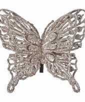 Kerst versiering vlinder champagne 13 x 11 cm