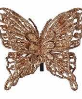 Kerst versiering vlinder koper 13 x 11 cm