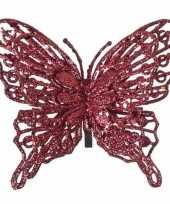 Kerst versiering vlinder rood 13 x 11 cm
