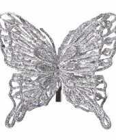 Kerst versiering vlinder zilver 13 x 11 cm