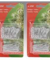 Kerstboom versiering kerstbalhaakjes zilver 300 stuks