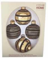 Kerstboom versiering kerstballen mix zwart goud 4 stuks van glas