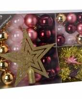 Kerstboom versiering set 33 delig roze
