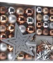 Kerstboom versiering set 45 delig brons zilver goud