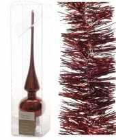 Kerstboomversiering set donkerrode piek en 3x folieslingers 27