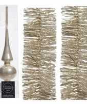 Kerstboomversiering set parel champagne piek en 2x folieslingers