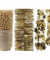 Kerstboomversiering slingers set 3x gouden kerstslingers