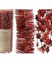 Kerstboomversiering slingers set 3x rode kerstslingers