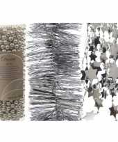Kerstboomversiering slingers set 3x zilveren kerstslingers