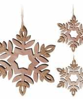 Kerstversiering hout sneeuwvlok hangers 12 cm 2 stuks
