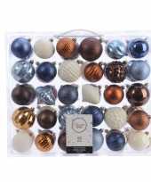 Kerstversiering kerstballen set blauw bruin en wit 60 delig